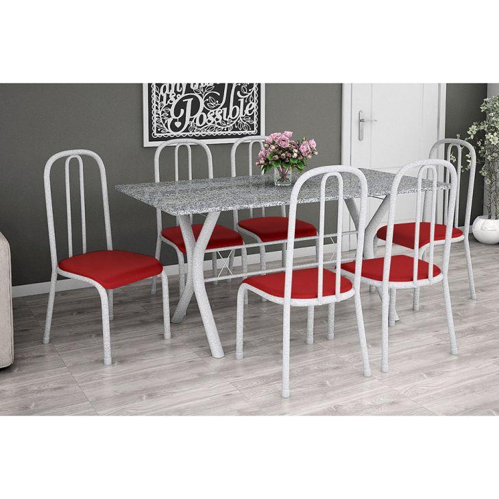 Conjunto de Mesa Miame 150 cm com 6 Cadeiras Madri Branco e Vermelho