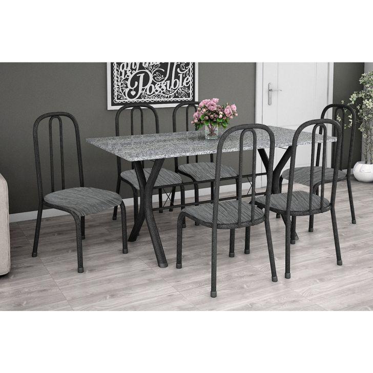 Conjunto de Mesa Miame 150 cm com 6 Cadeiras Madri Preto e Cinza Rajado
