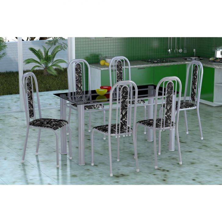 Conjunto de Mesa com 6 Cadeiras Granada Prata e Preto Floral VD