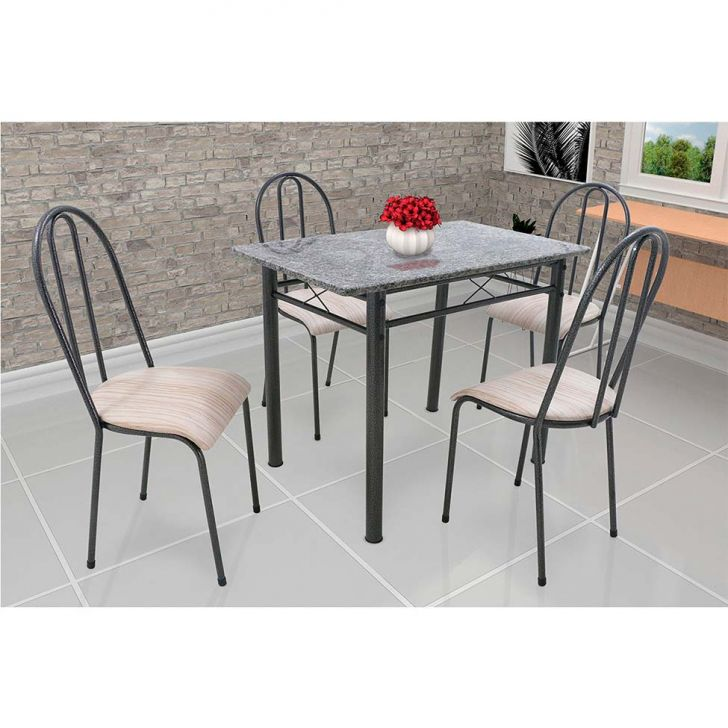 Conjunto de Mesa de Cozinha 4 Cadeiras Genebra Preto e Nature