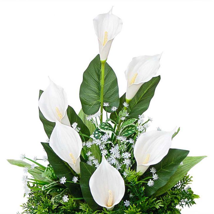 Arranjo De Flores Artificiais Copo De Leite Para Canto 45x30 Cm