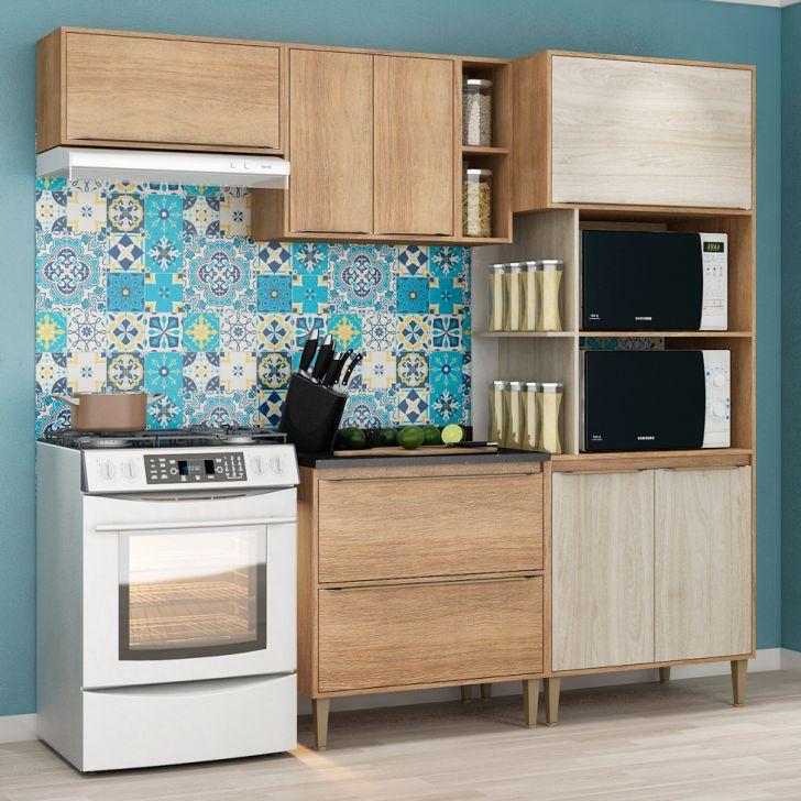 Cozinha Compacta Allure 7 PT 2 GV Carvalho e Blanche