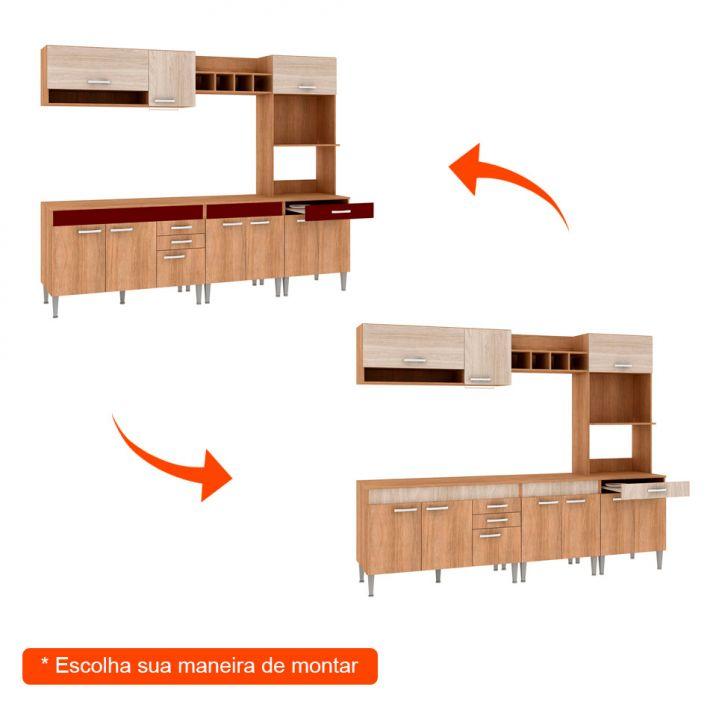 Foto 2 - Cozinha Compacta Classic Flex Color 10 PT 3 GV Carvalho com Blanche e Bordô