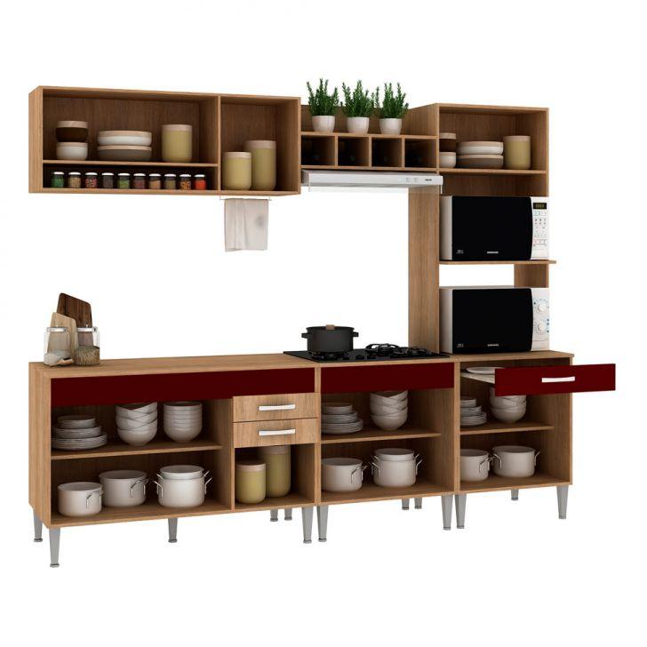 Foto 6 - Cozinha Compacta Classic Flex Color 10 PT 3 GV Carvalho com Blanche e Bordô