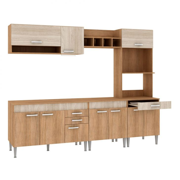 Foto 1 - Cozinha Compacta Classic Flex Color 10 PT 3 GV Carvalho com Blanche e Bordô