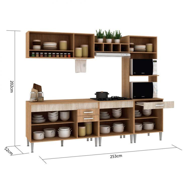 Foto 3 - Cozinha Compacta Classic Flex Color 10 PT 3 GV Carvalho com Blanche e Bordô