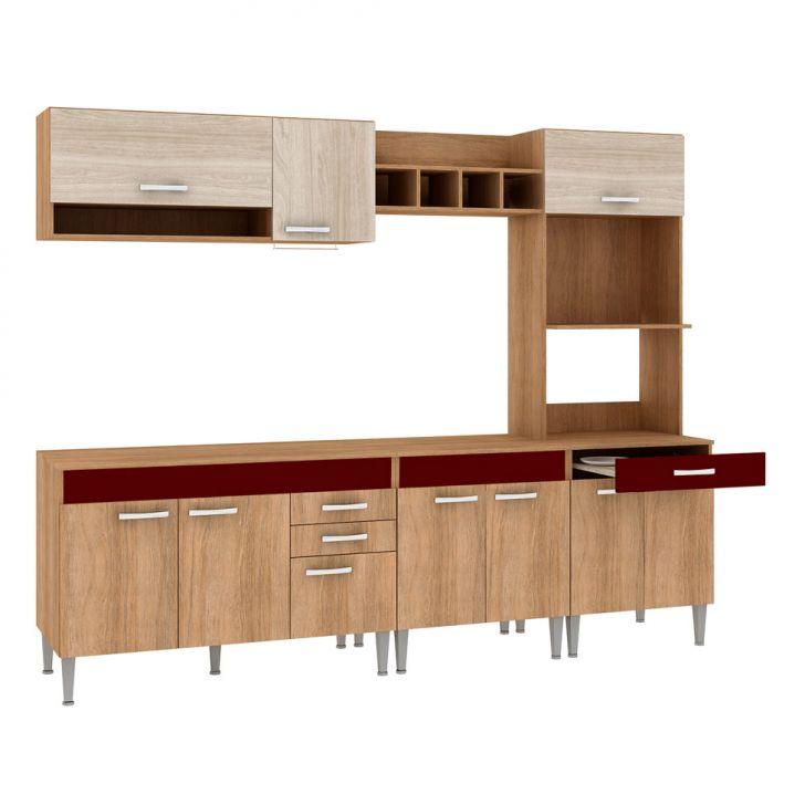 Foto 4 - Cozinha Compacta Classic Flex Color 10 PT 3 GV Carvalho com Blanche e Bordô