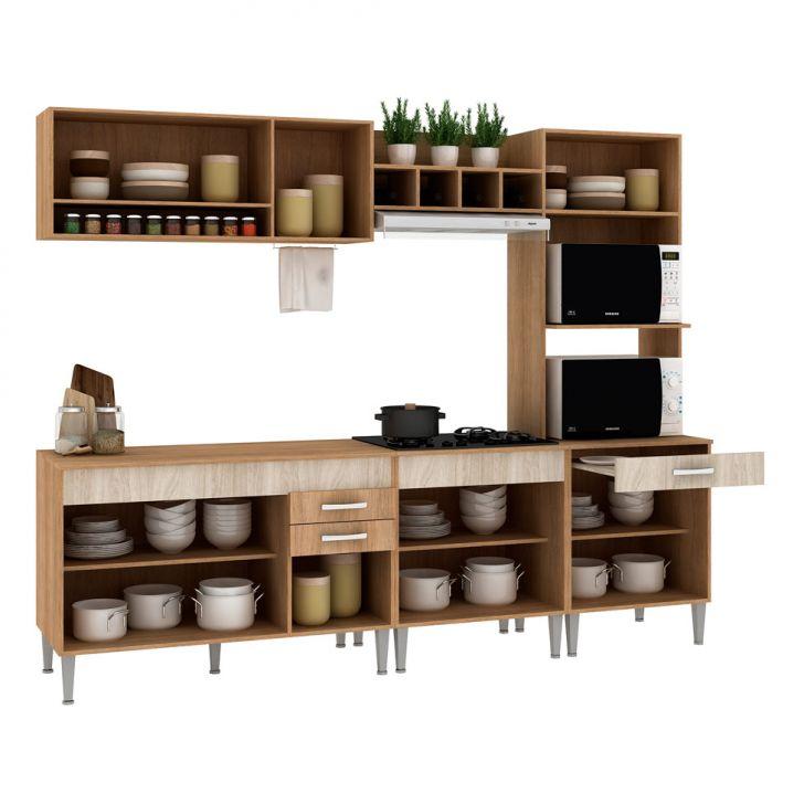 Foto 5 - Cozinha Compacta Classic Flex Color 10 PT 3 GV Carvalho com Blanche e Bordô