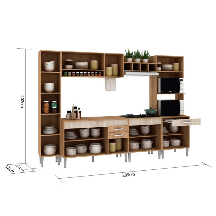 Foto 3 - Cozinha Compacta Classic Flex Color 11 PT 3 GV Carvalho com Blanche
