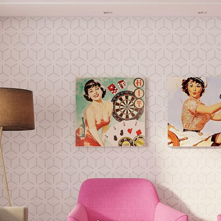 Tela Impressa Pin Up Cassino Fullway 60x60x4