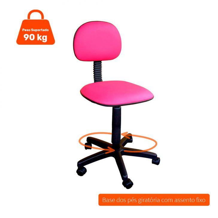 Cadeira de Escritório Secretária Giratória Fixa Corano Rosa
