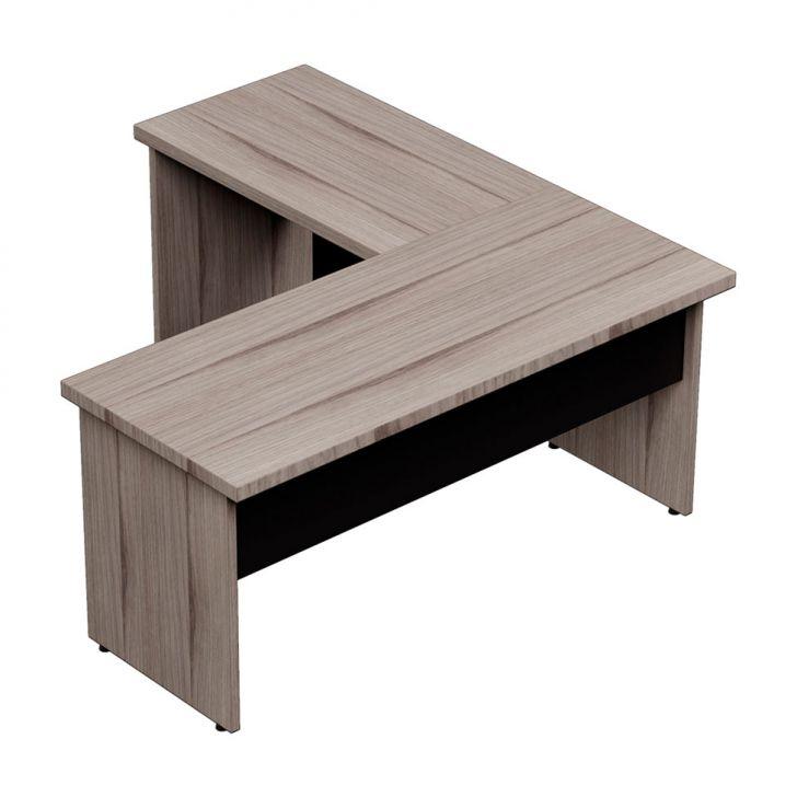 Mesa escrit rio em l prius preto grigio 135cm for Mesa escritorio l
