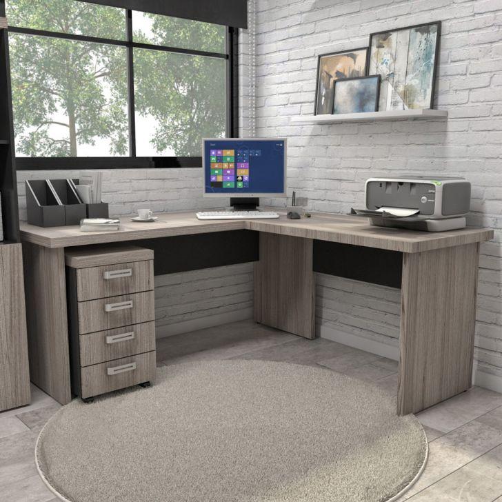 Mesa escrit rio em l prius preto grigio 160cm for Protector de mesa escritorio