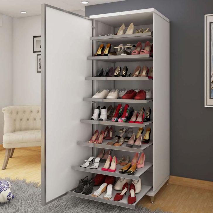 Sapateira com espelho estilo 190 branca for Zapateras modernas para closet