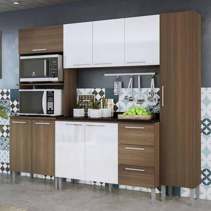 Cozinha Compacta Alice 9 Pt 3 Gv Castanho e Branca