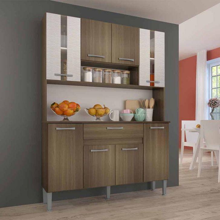 Cozinha Compacta Anie 8 Pt 1 Gv Castanho e Mel