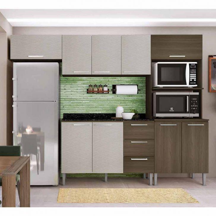 Cozinha Compacta Bia 9 Pt 3 Gv Castanho e Mel