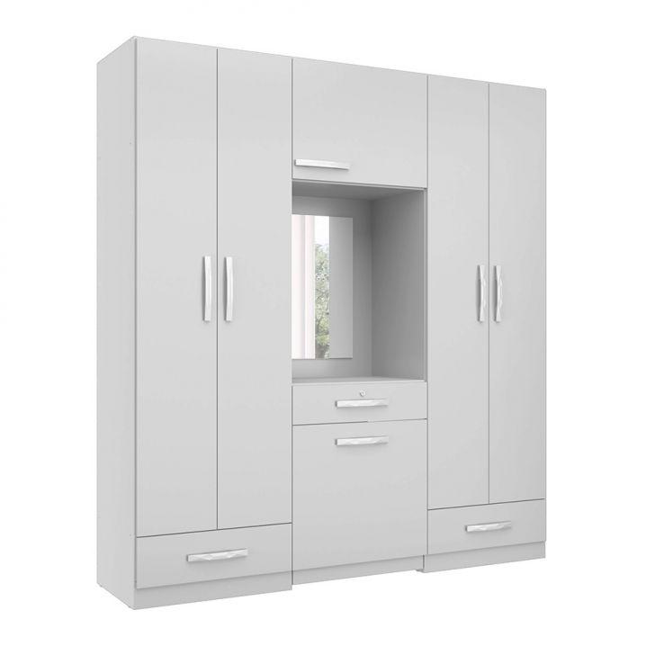 Guarda-Roupa Casal com Espelho Salamanca 5 PT Branco