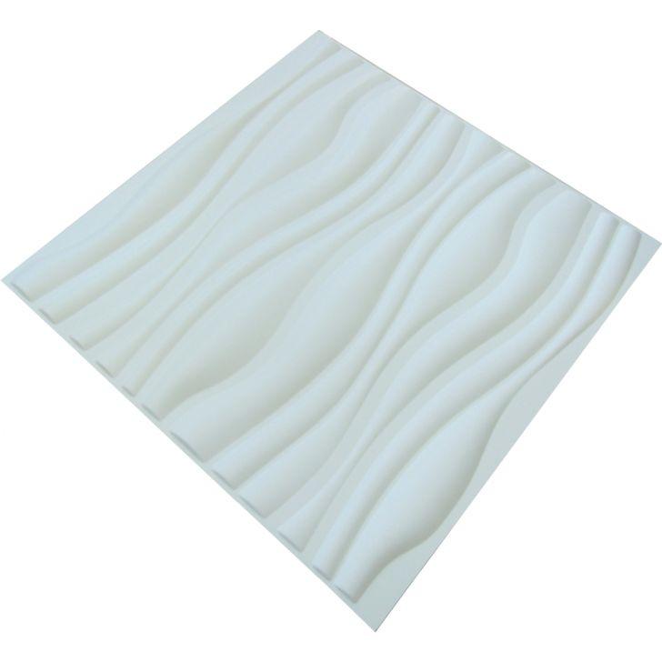 Placa revestimento de parede 3d wellen em pvc 50x50 branco for Placas de pvc para paredes