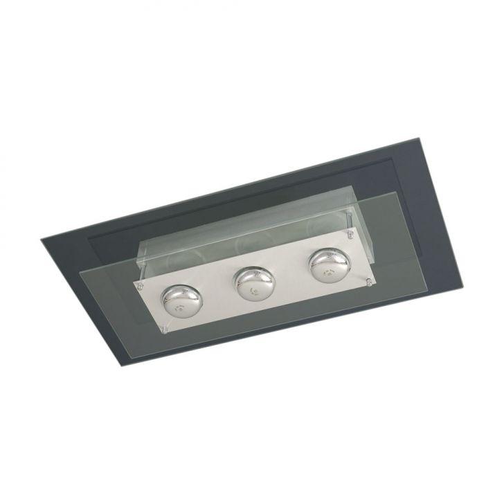 Plafon Saturno Aluminio e Vidro PMR 137 Escovado Transparente Bivolt