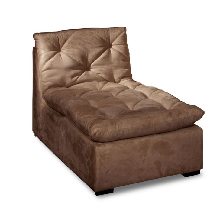 Sof ronne chaise suede marrom for Sofa 1 lugar com chaise