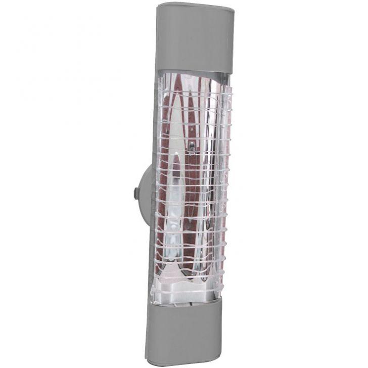 Luminária Mini Elite 47Cm Com Aletas E-27 2 Lâmpada Eletrônica Titânio