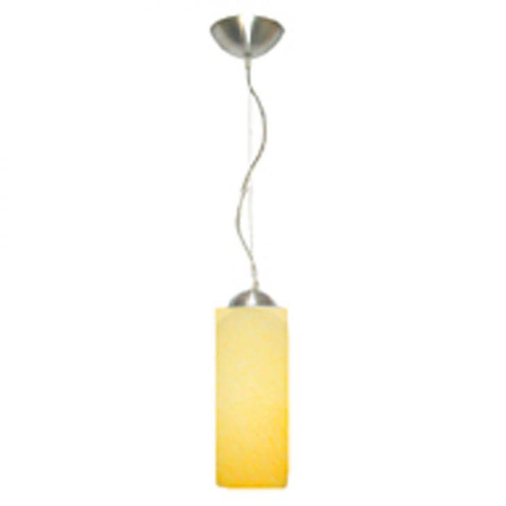 Pendente Polo Alumínio com Vidro Cilíndrico Fosco E-27 1 Lâmpada Max 60W Amarelo