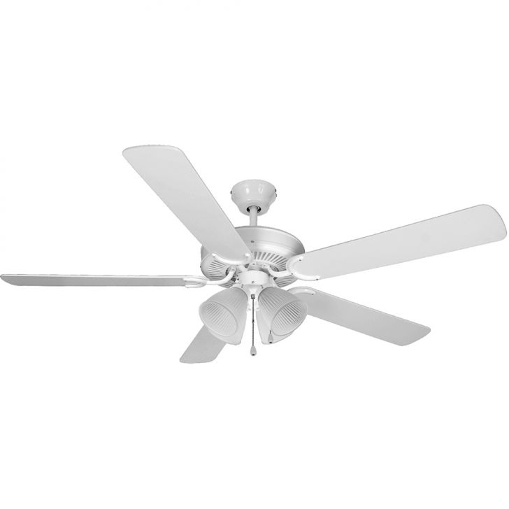 Ventilador de Teto Hl-3 4 Tulipas E-27 5 Pás Cinza / Branco 127V Branco