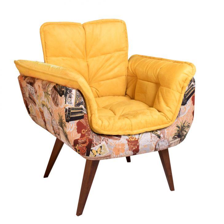 Poltrona Decorativa Opalla III Suede Amarelo - Amarelo - 1 - thumbnail