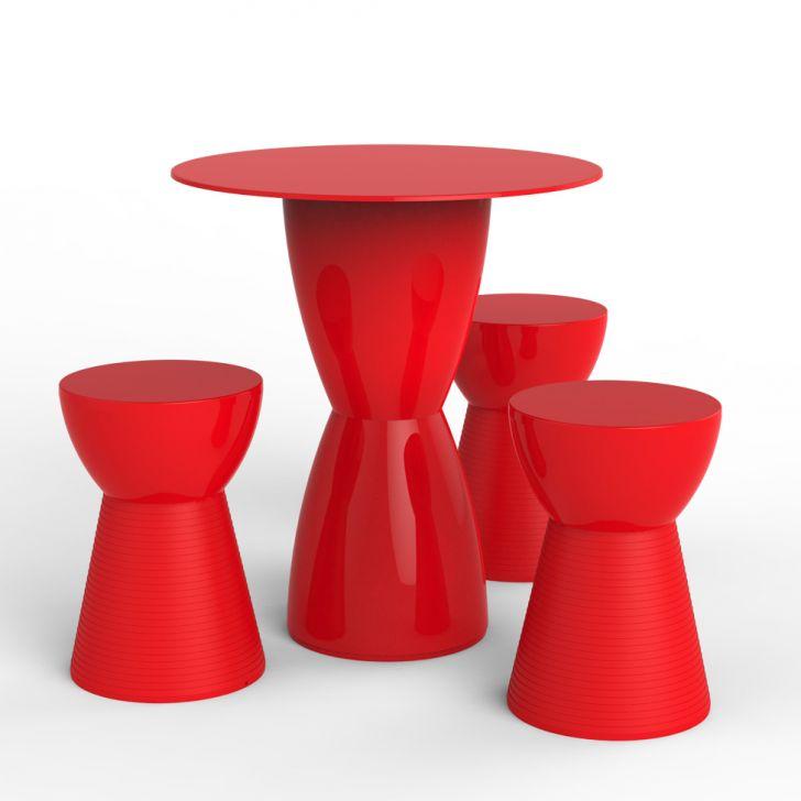 Conjunto de Mesa com 3 Bancos Fit Vermelho