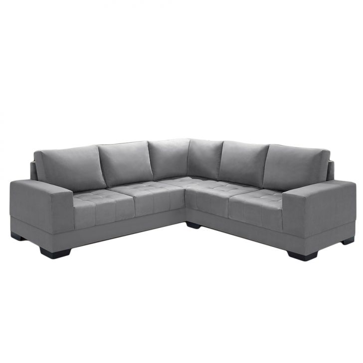 Sofa 3 lugares chaise suede for Sofas com chaise e puff
