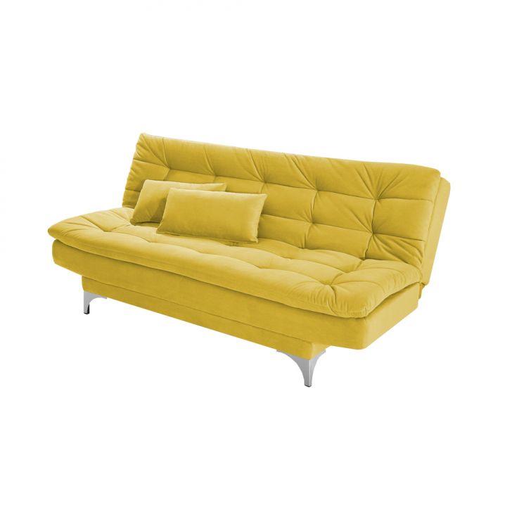 Sofá-Cama 3 Lugares Casal Pratic Suede Liso Amarelo