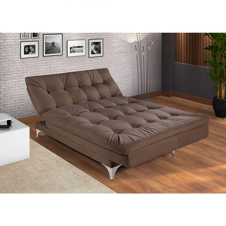Sof cama e chaise casal vers til veludo liso marrom - Sofas cama de 1 20 cm ...