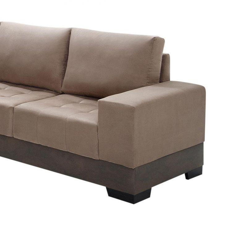 Sof de canto 5 lugares com chaise patr cia suede chocolate for Sofa 5 lugares canto