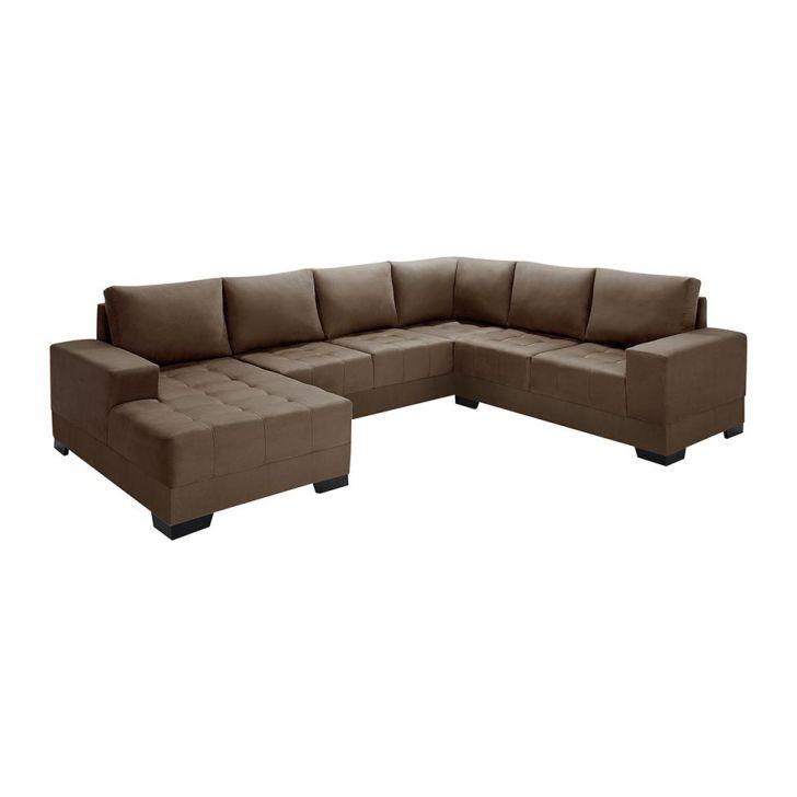 Sof de canto 5 lugares com chaise patr cia suede marrom for Sofa 03 lugares com chaise