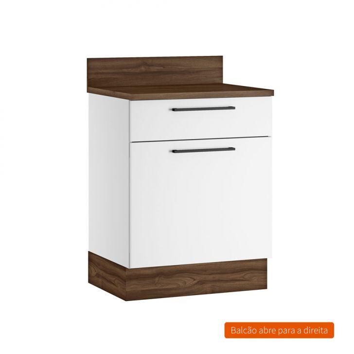 Balcão de Cozinha Exclusive com Tampo 1 PT 1 GV Branco 65 cm