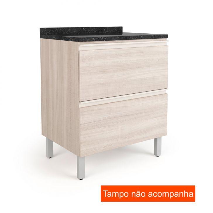 Balcão para Cozinha Belíssima Plus 2 GV Saara Wood e Saara Wood Cetim 70 cm