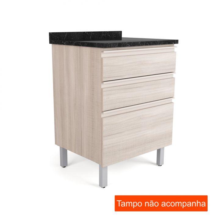 Balcão para Cozinha Belíssima Plus3 GV Saara Wood e Saara Wood Cetim 60 cm