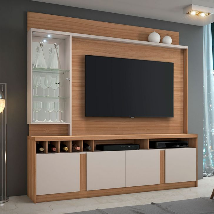 Estante para Home Theater e TV até 60 Polegadas Canastra Naturale e Off White