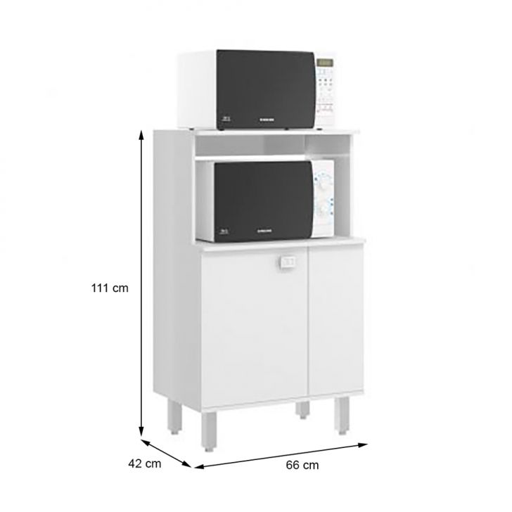 Foto 2 - Armário para Micro-ondas Sloan 1 PT Branco