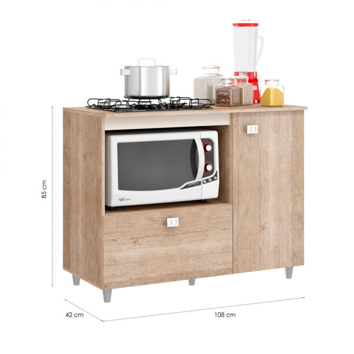 Foto 3 - Balcão de Cozinha Khloe para Cooktop 2 PT Flex Bege e Amarelo