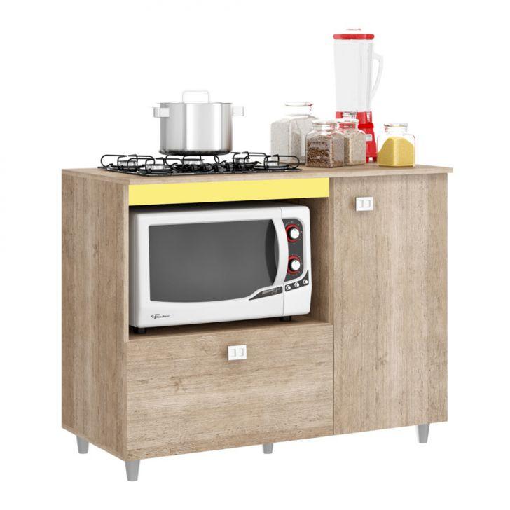 Foto 4 - Balcão de Cozinha Khloe para Cooktop 2 PT Flex Bege e Amarelo