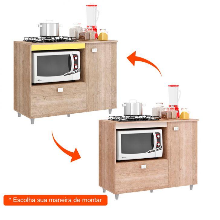 Foto 2 - Balcão para Cooktop 4 ou 5 bocas 2 PT Roble Flex Color Bege e Amarelo