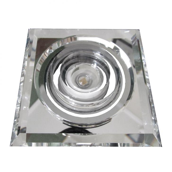 Embutido Quadrado Fixo Cristal para 1 Lâmpada