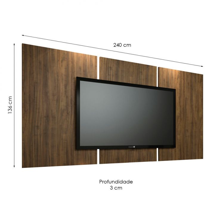 painel para tv 60 polegadas elite ameixa negra 240 cm. Black Bedroom Furniture Sets. Home Design Ideas