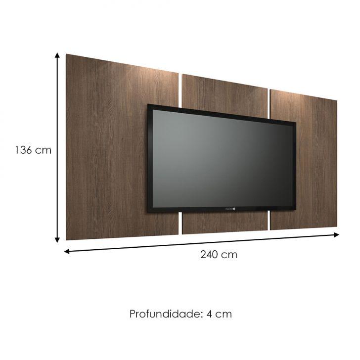 painel para tv 60 polegadas elite carvalho vora 240 cm. Black Bedroom Furniture Sets. Home Design Ideas