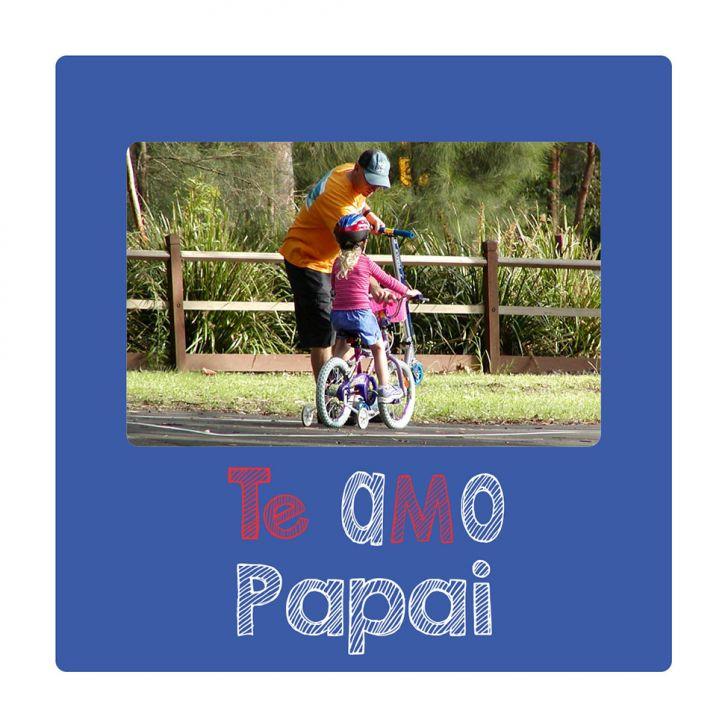 Porta Retrato Te Amo Pai Azul 20x20cm