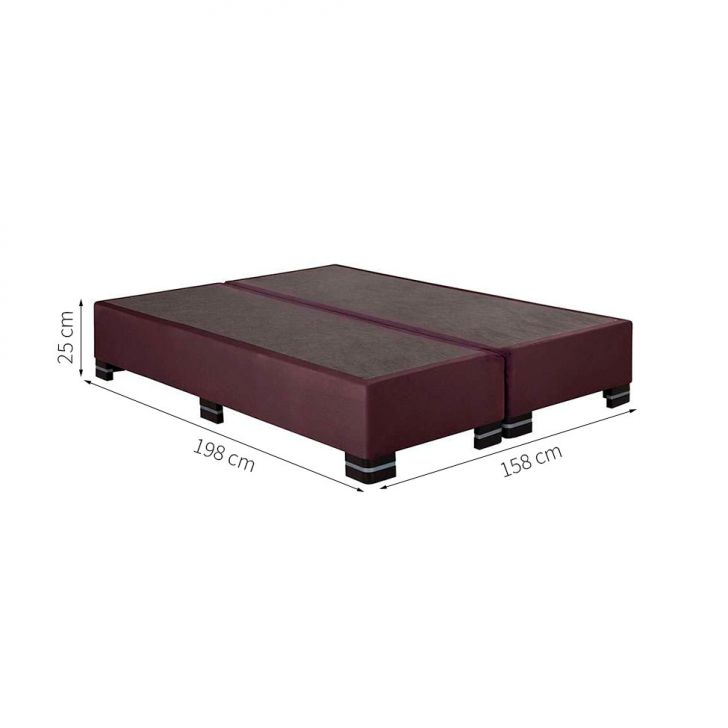 Base Cama Box Queen Suede Vinho  Kappesberg