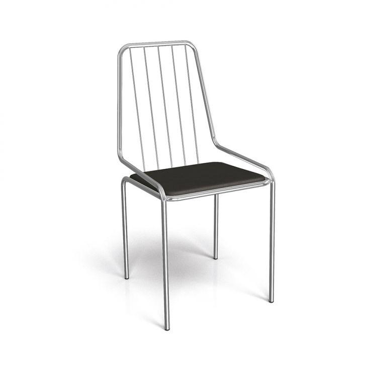 Cadeira de Jantar Benin Cromada e Preto
