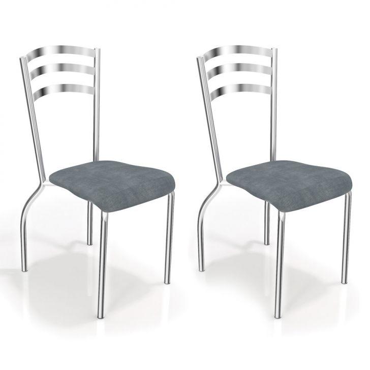 Conjunto 2 Cadeiras Portugal Preto Linho Cinza